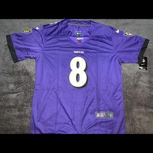2019 Lamar Jackson #8 Purple Ravens Jersey. 100